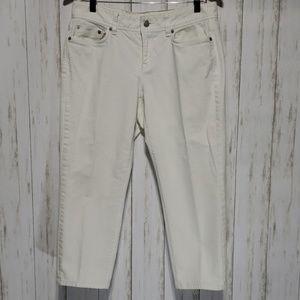 Loft Curvy Crop White Jean Pants